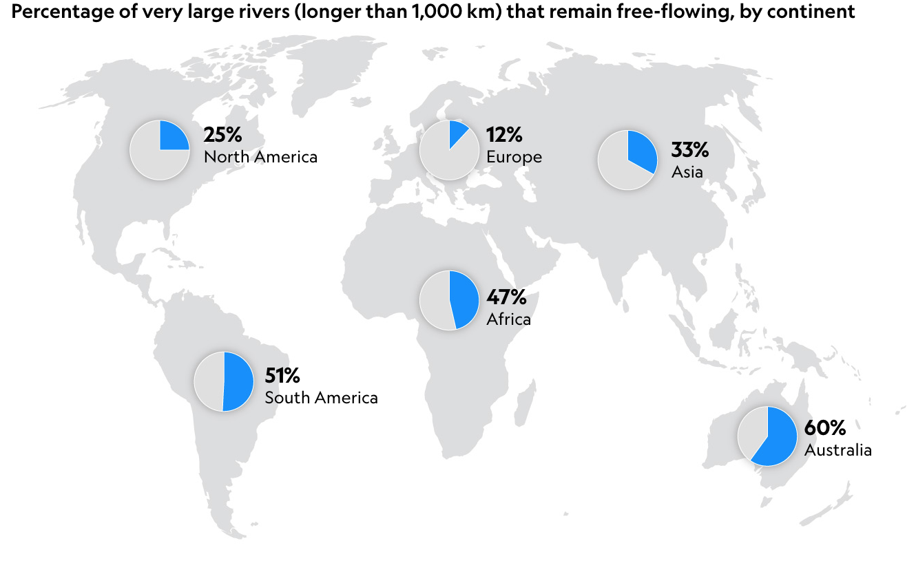 Two-Thirds of World's Longest Rivers Don't Flow Freely Anymore