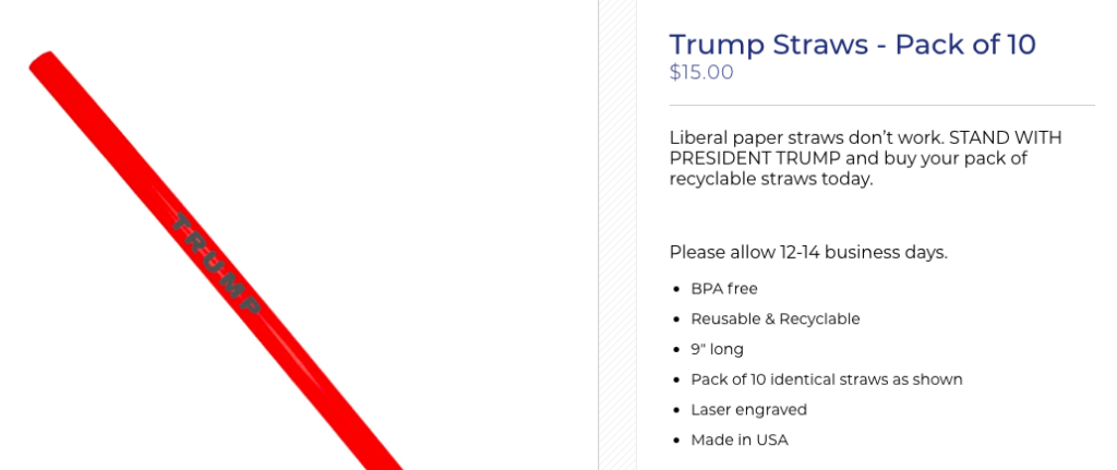 President Trump's Sustainable Straws A Big Seller