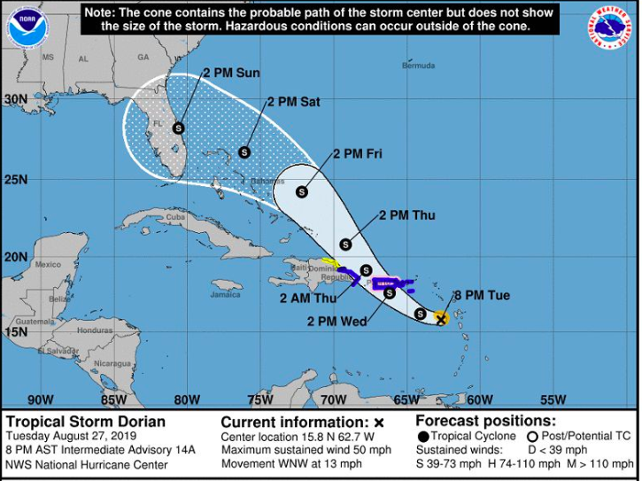 Dorian Heading Toward Puerto Rico, Expected to Become a Hurricane