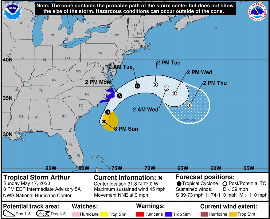 First Named Storm of the Season – Tropical Storm Arthur – Heads for NC Coast