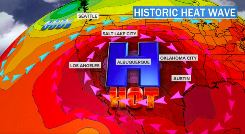 Heat Dome in Southwest Keeps Temps At or Near 100 Degrees for Days on End