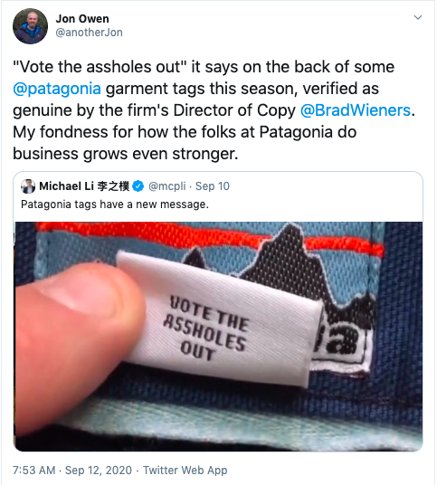 One Badass Thing: Patagonia's New Tags With A Message
