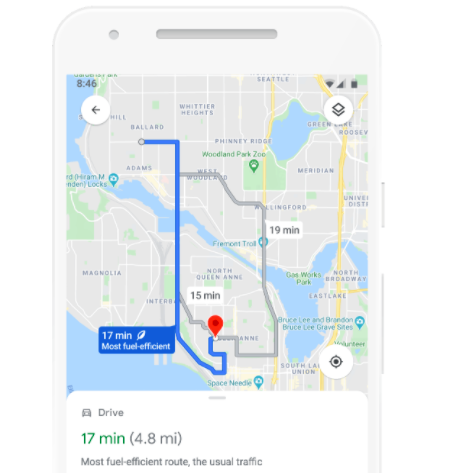 One Eco-Efficient Thing:  Google Map Routes With Lowest Carbon Footprint Navigation