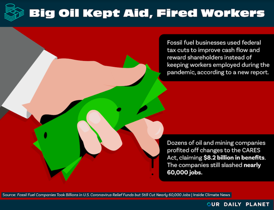 Fossil Fuel Companies Pocketed $8.2 Billion in COVID Relief, Fired 60,000 Workers