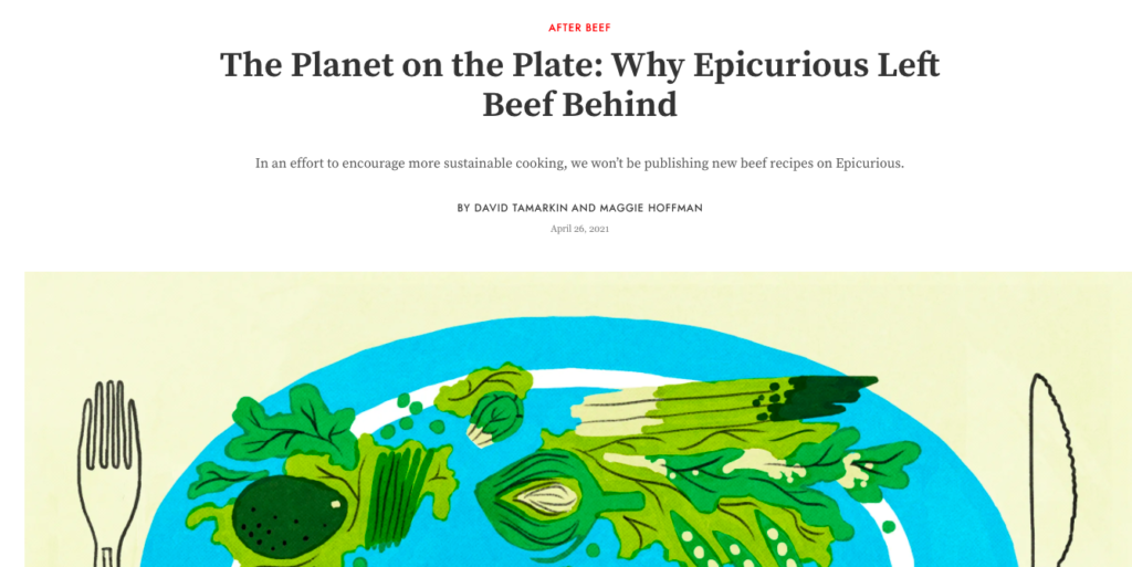 One Real News Thing: Online Recipe Bank Epicurious Has Phased Out Beef Recipes