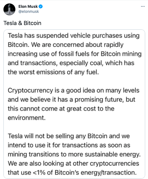 Tesla Stops Accepting Bitcoin Transactions Due To Environmental Impact of Cryptocurrencies